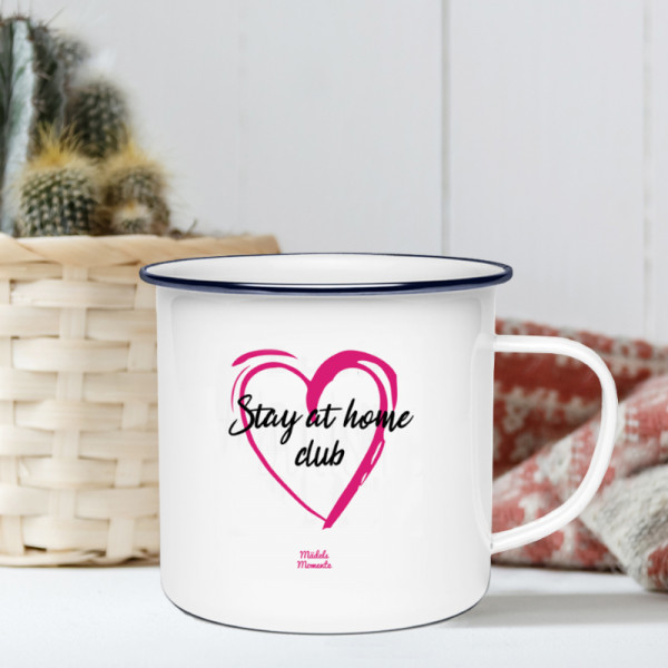Stay at home club - Emaille Tasse